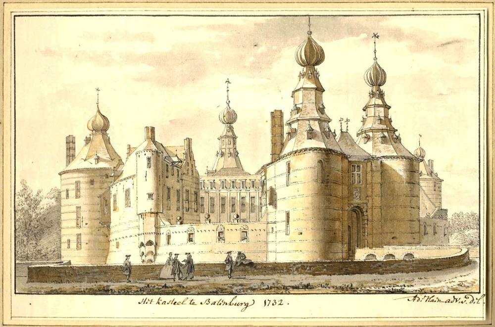 Ru�ne Batenburg in Batenburg. Tekening Abraham de Haen,1732